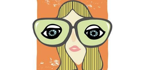 illustration of girl with big glasses