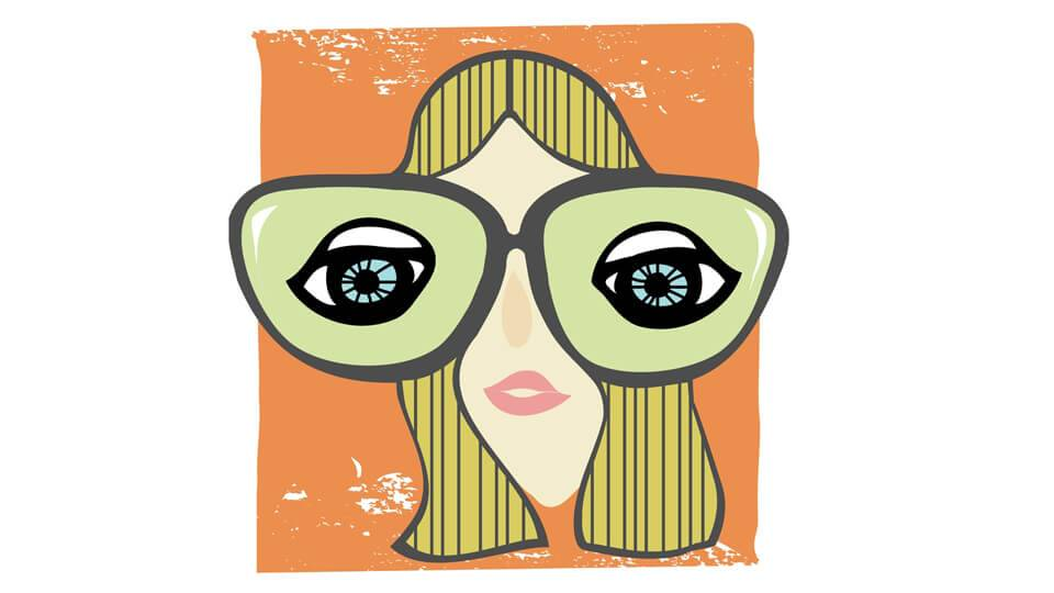 illustration of girl with big glasses. Public Television pbs rewire