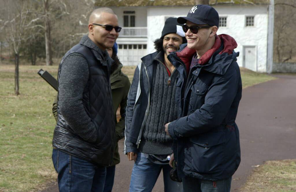 L to R: Christopher Jackson, Daveed Diggs, and director Alex Horwitz at Valley Forge National Historical Park, PA, filming a scene for Hamilton's America