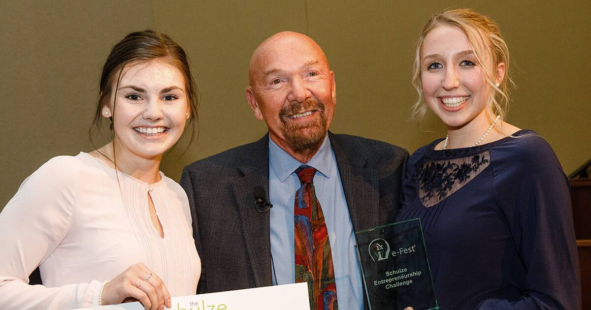 Dick Schulze and two female student entrepreneurs at efest rewire pbs work dream