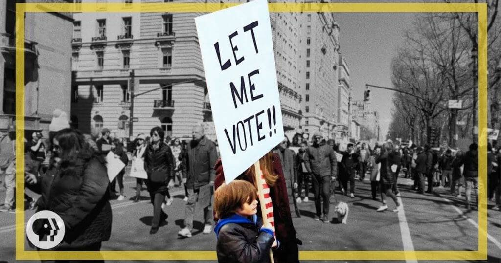 """Teenager holds """"Let Me Vote"""" sign pbs rewire"""