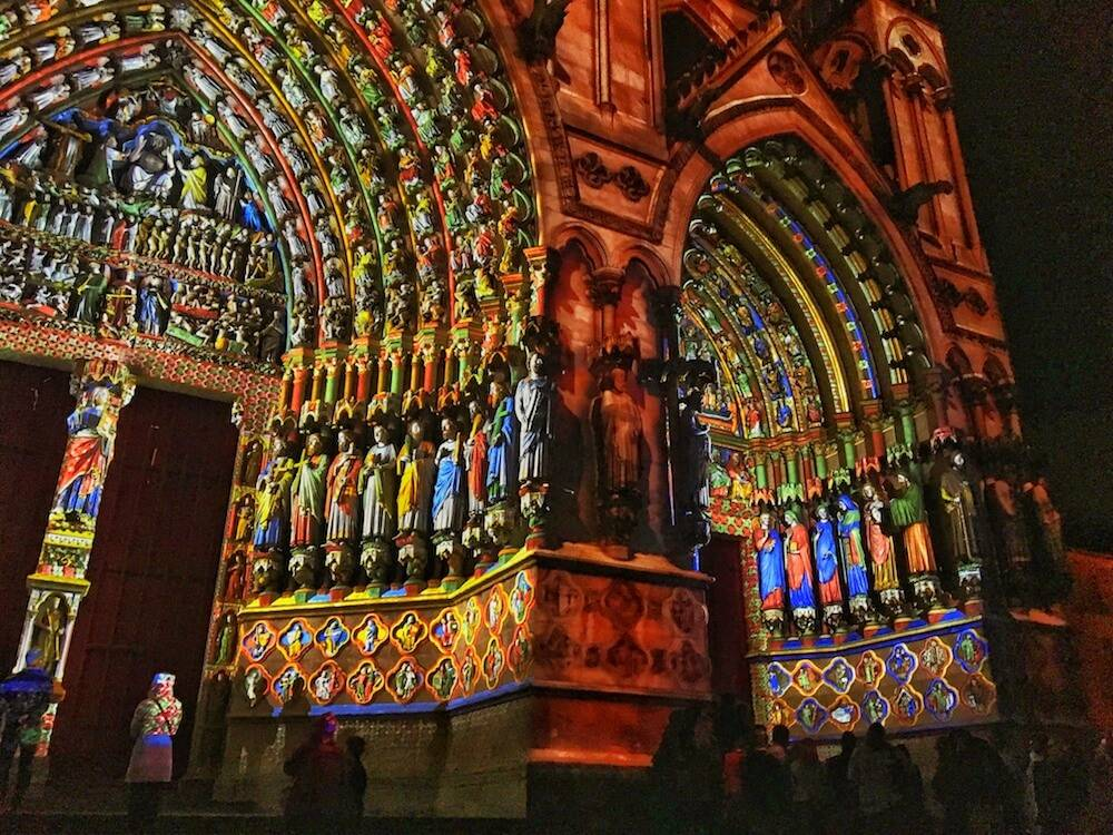 "The brightly colored light show at Amiens Cathedral in Amiens, France, featured in ""Civilizations."" Sarah Urist Green pbs rewire"