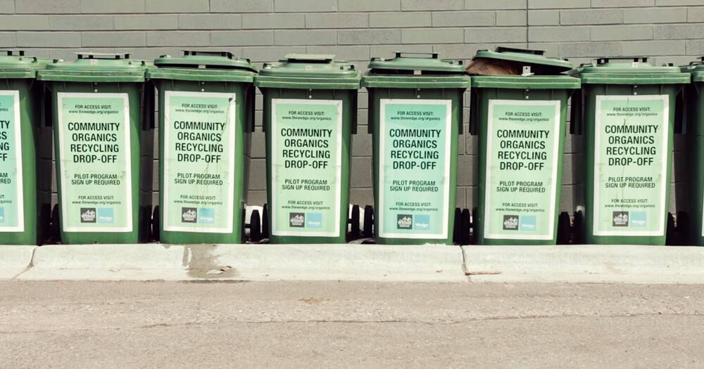 A line of community organics recycling cans. Rewire PBS Our Future Composting