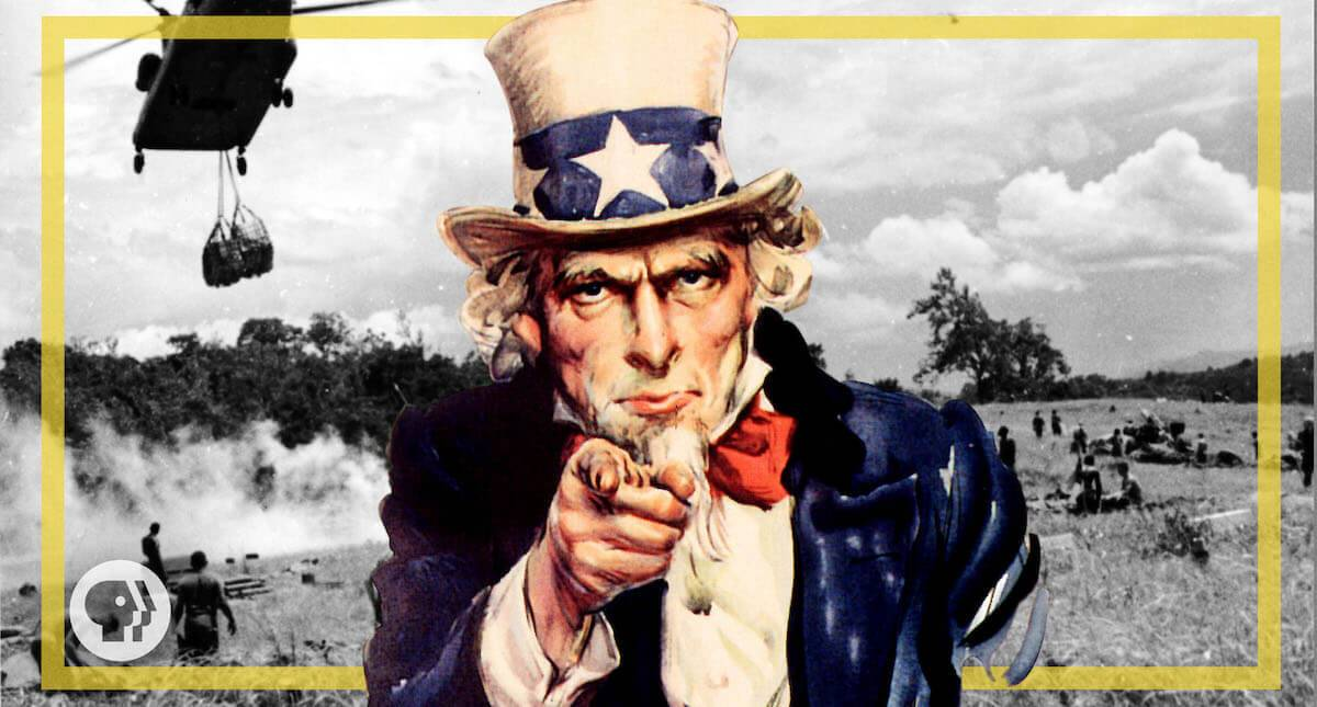Uncle Sam pointing at the viewer. America From Scratch mandatory military service pbs rewire