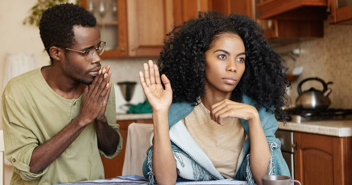 A black man apologizing to his african-american wife. Meaningful Apology pbs rewire