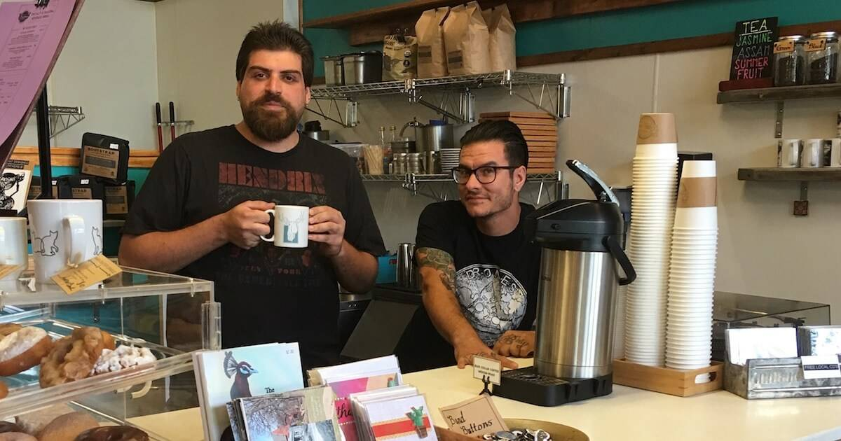 Founders of Caydence Records & Coffee behind the counter. pbs rewire