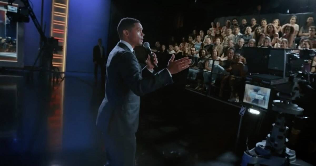 Trevor Noah doing monologue. Breaking Big pbs rewire