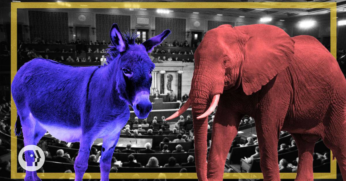 Blue donkey next to red elephant. America From Scratch 2 major political parties pbs rewire
