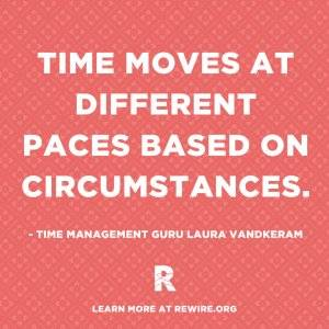 """Image with quote: """"Time moves at different paces based on circumstances"""" by Laura Vandkeram. Pressed for Time pbs rewire"""