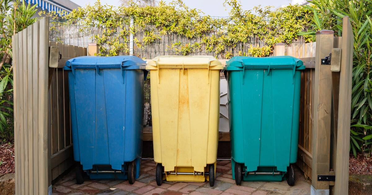Three possible trash bins, a blue one, a yellow one, and a green one. Trash pbs rewire
