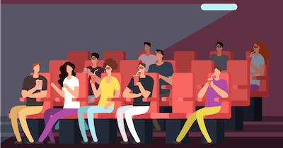 Animation of people at a movie theater. Culturally Relevant Films pbs rewire