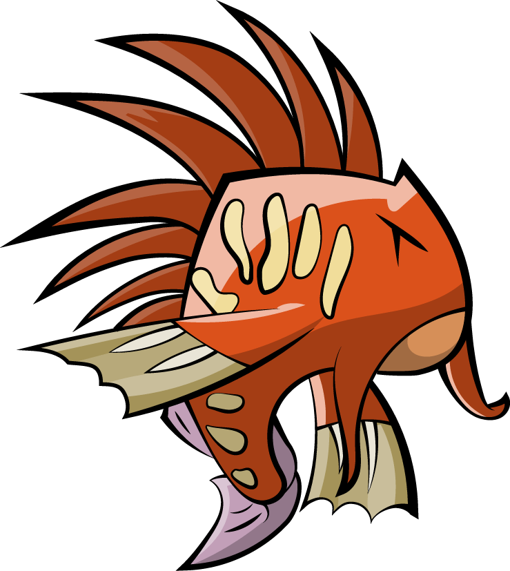 Fish illustration that appears as a character in the game Fingeance. Video Games pbs rewire