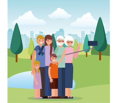 Illustration of family including grandparents, parents, and kids. Aging Parents pbs rewire