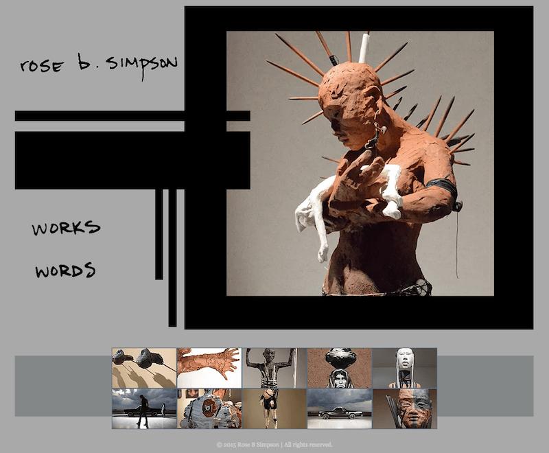 Artist Rose B Simpson's website with her works art. PBS Rewire