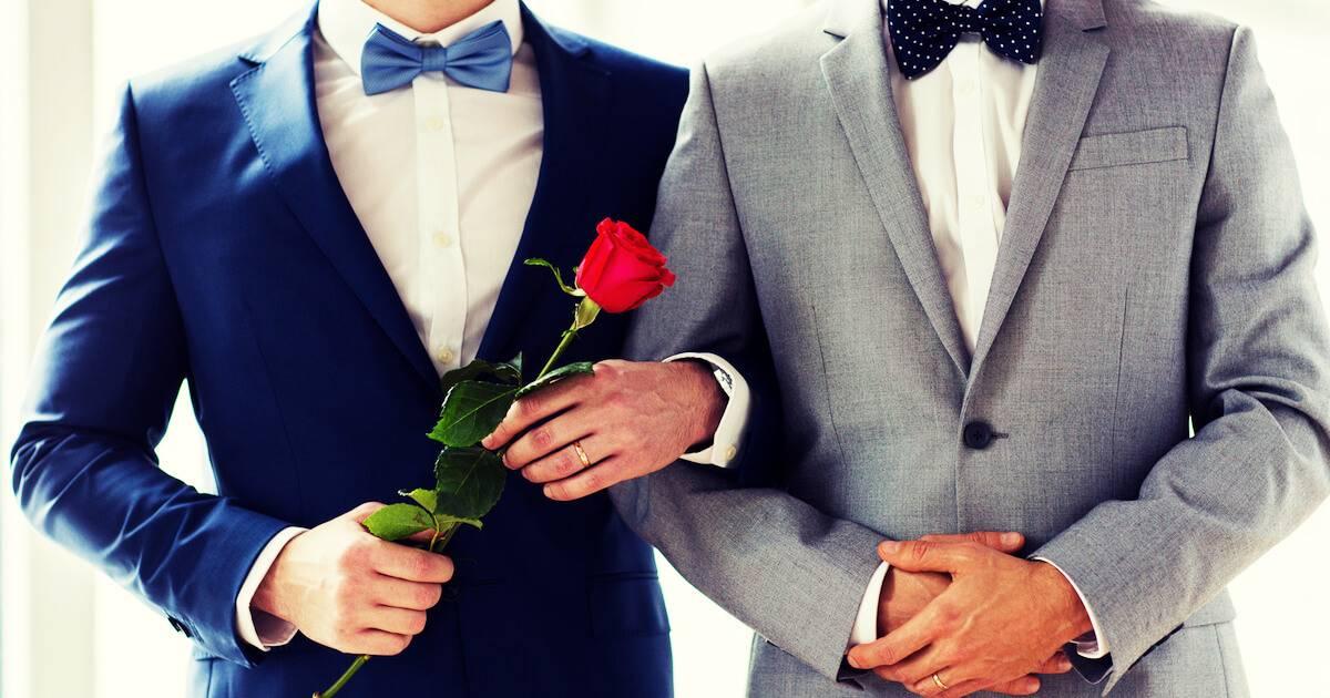 Two men on their wedding day. Taxes pbs rewire