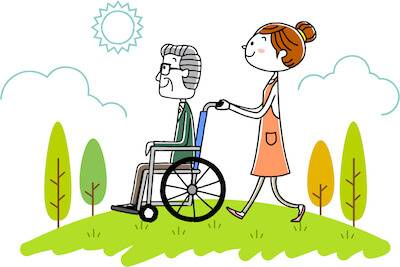 Illustration of daughter walking her wheelchair bound father in a park. Estate Planning pbs rewire