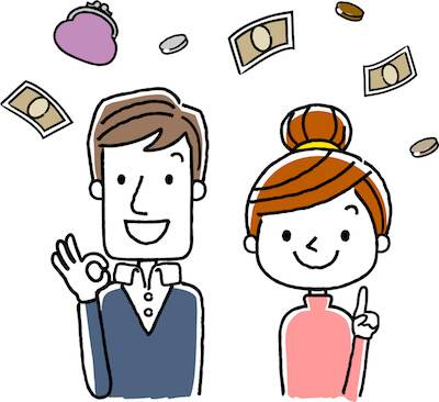 Illustration of young couple with money floating around them. Make More Money Than Your Partner pbs rewire
