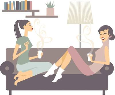 Illustration of two women talking on a couch over coffee. Talking About Yourself pbs rewire