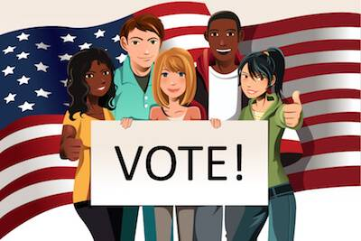 Illustration of young voters in front of an American flag golding a vote sign. pbs rewire