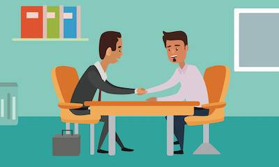 Illustration of two men shaking hands over a table at work. Pay Raise pbs rewire