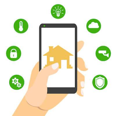 Illustration of first-time homebuyer holding smart phone connected to smart house. pbs rewire