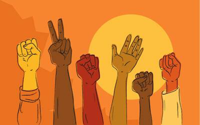 Diverse hands raised in peaceful protest. pbs rewire