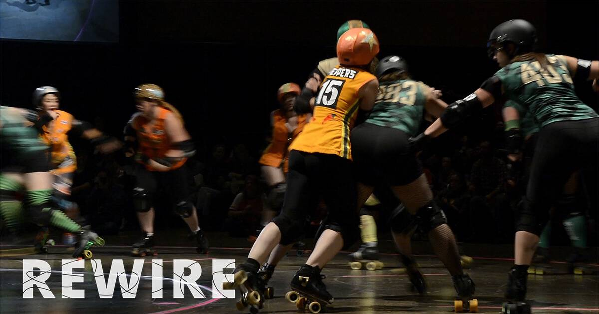 Minnesota RollerGirls Roller Derby League in action. pbs rewire