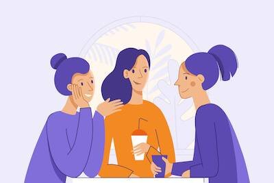 Illustration of three women chatting over drinks. Chronic Illness pbs rewire