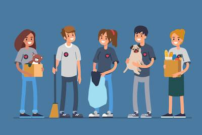 Illustration of different types of young volunteers. Philanthropy pbs rewire