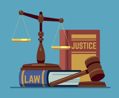 Illustration of law books, a gavel, and a balance scale. Judges pbs rewire