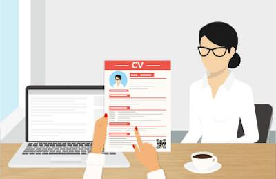 Illustration of recruiter looking at applicant's CV. Perfect Resumé pbs rewire