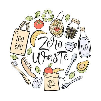 Graphic showing the elements of Zero Waste. Planet's Health pbs rewire