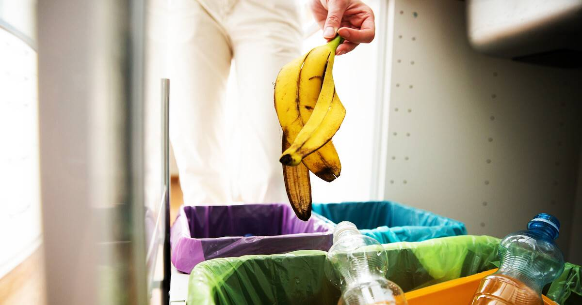 Woman putting a banana peel into the compost bin. Planet's Health pbs rewire