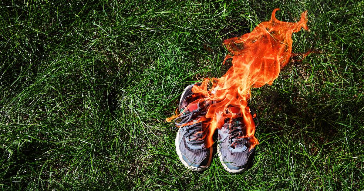 A pair of shoes on fire. Boycotts pbs rewire