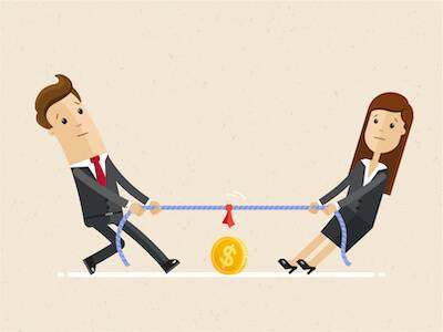 Illustration of couple playing tug-of-war over money. Talking Points pbs rewire