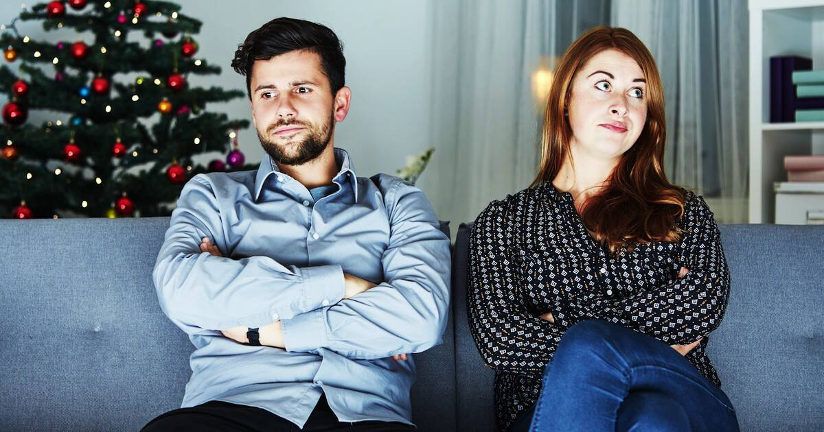 Brother and sister ignoring each other at Christmas. Broken Family pbs rewire
