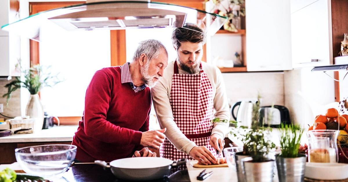 Adult man making food with his older father. Live With Your Parents pbs rewire