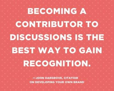 "Job Search quote graphic stating ""Becoming a contributor to discussions is the best way to gain recognition"" by John Hargrove. pbs rewire"