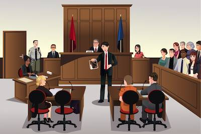 Illustration of courtroom scene. Jury Duty pbs rewire