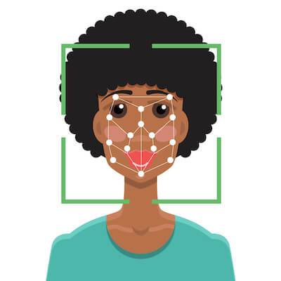 African-American woman using facial recognition. AI pbs rewire
