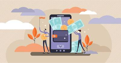 Illustration of couple organizing their budget on a smartphone. Paycheck to Paycheck pbs rewire