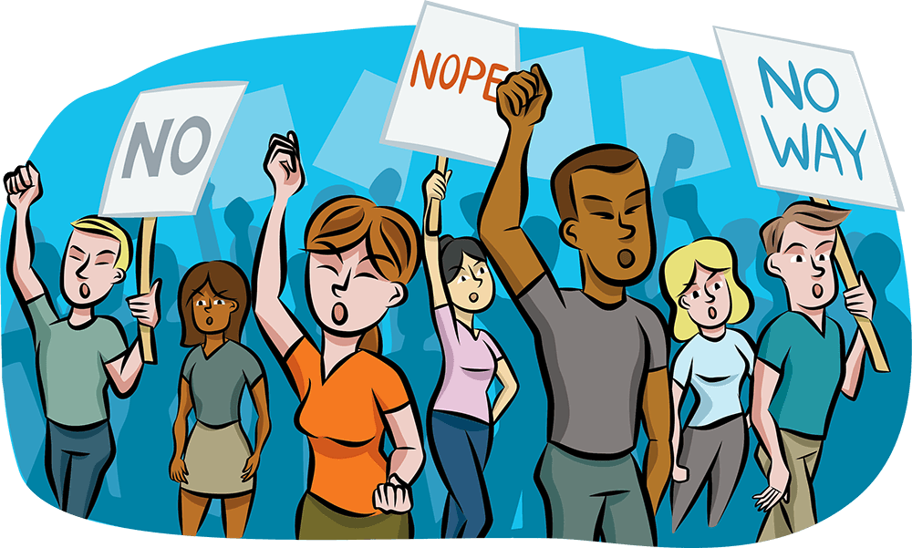 "Illustration of a mixed group of people holding up ""No,"" ""Nope,"" and ""No Way"" signs in protest. Rewire PBS Living Activism"