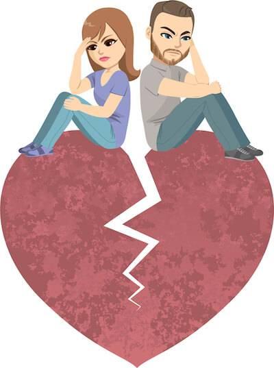 Illustration of couple sitting on a broken heart. Jealousy pbs rewire