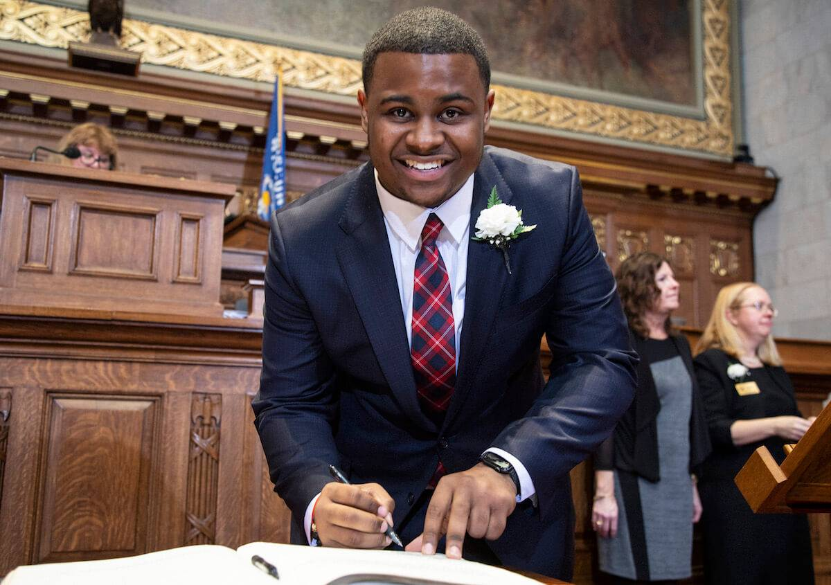 Rep. Kalan Haywood, 19, was sworn into the Wisconsin Assembly. Youngest Lawmakers pbs rewire