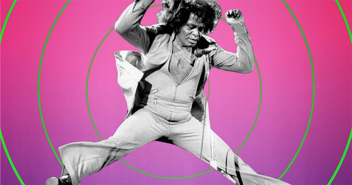 Black and white image of James Brown jumping on a pink background with green circles. Sound Field Rewire PBS