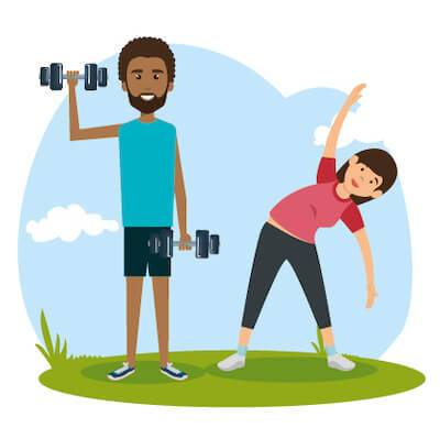 Illustration of man and woman doing light exercise. Taking Care of Yourself pbs rewire