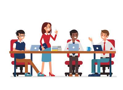 Illustration of diverse coworkers discussing work. Achieve Work Goals pbs rewire