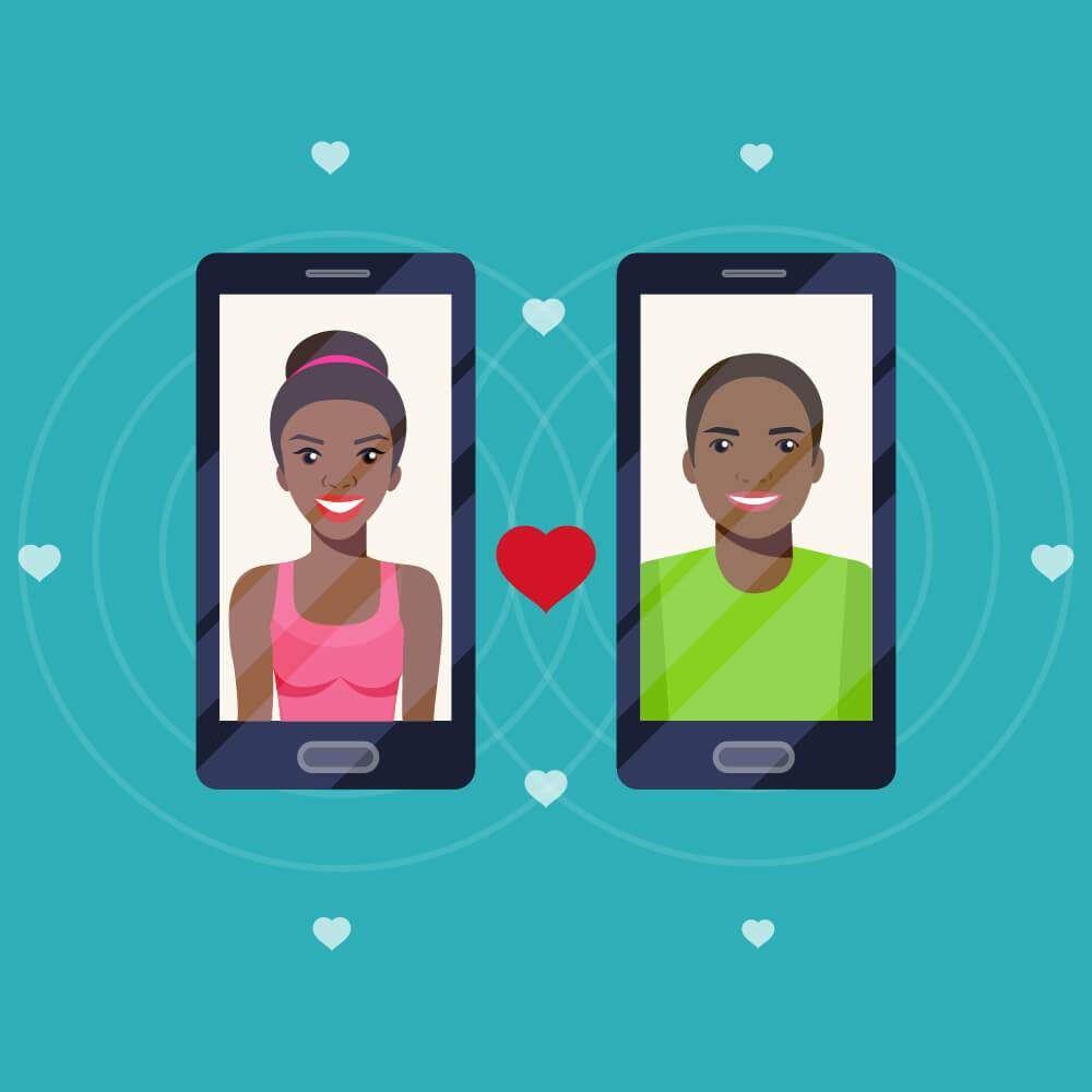 Illustration of two smart phones, one with the image of a young African American woman, one depicting a young African American man, with a heart symbol in-between them. Rewire PBS Love