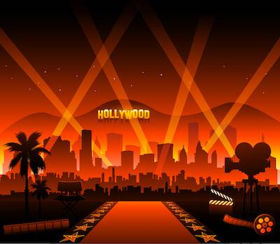 Illustration of red carpet event in front of Hollywood sign. Academy Age Gap pbs rewire