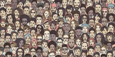 Illustration of many different faces in a crowd. Religion pbs rewire